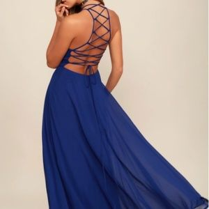 Lulu's Strappy Blue Maxi Dress backless medium